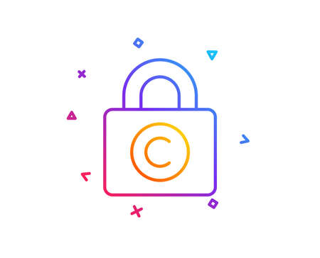 Copyright locker line icon. Copywriting sign. Private Information symbol. Gradient line button. Copyright locker icon design. Colorful geometric shapes. Vector Illusztráció