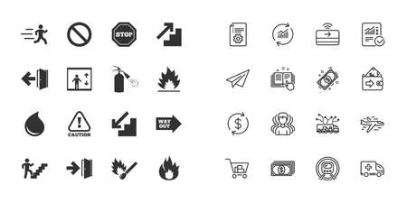 Set of Emergency, Fire safety and Protection icons. Extinguisher, Exit and Attention signs. Caution, Water drop and Way out symbols. Paper plane, report and shopping cart icons. Group of people