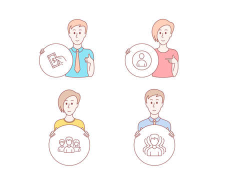 People hand drawn style. Set of Teamwork, Avatar and Pay money icons. Group sign. Group of users, User profile, Hold cash. Headhunting service.  Character hold circle button. Man with like hand