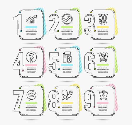 Infografía de línea de tiempo. Conjunto de iconos de carro de actualización, avión y carro de compras. Curva de demanda, signo de interrogación y signos de recompensa. Auditoría, pago y eliminación de símbolos de compra. Vector