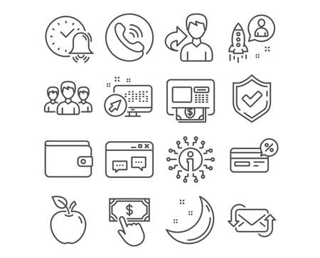 Set of Group, Alarm bell and Startup icons. Refresh mail, Atm and Browser window signs. Money wallet, Cashback and Payment click symbols. Group of people, Time, Developer. Vector