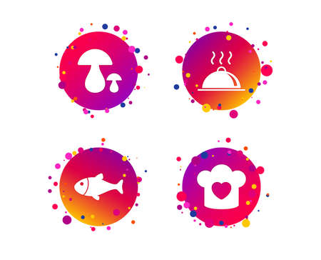 Chief hat with heart and cooking pan icons. Fish and boletus mushrooms signs. Hot food platter serving symbol. Gradient circle buttons with icons. Random dots design. Vector Illustration