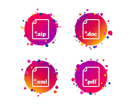 Download document icons. File extensions symbols. PDF, ZIP zipped, XML and DOC signs. Gradient circle buttons with icons. Random dots design. Vector