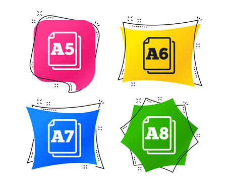 Paper size standard icons. Document symbols. A5, A6, A7 and A8 page signs. Geometric colorful tags. Banners with flat icons. Trendy design. Vector