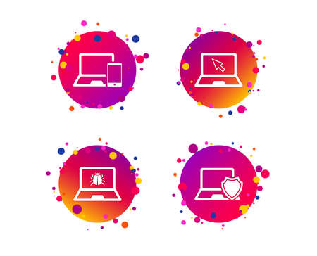 Notebook laptop pc icons. Virus or software bug signs. Shield protection symbol. Mouse cursor pointer. Gradient circle buttons with icons. Random dots design. Vector Archivio Fotografico - 112872477