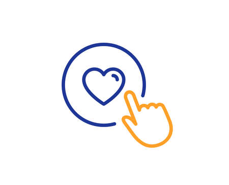 Click like line icon. Love button symbol. Valentines day sign. Colorful outline concept. Blue and orange thin line color icon. Like button Vector