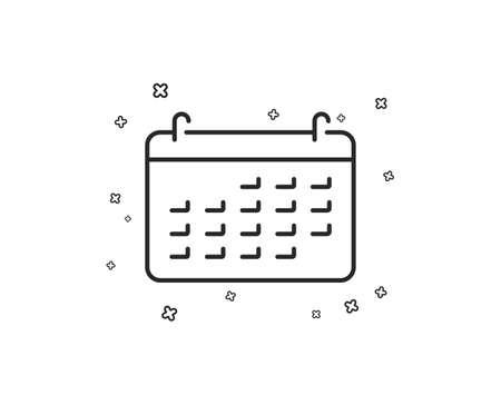Calendar line icon. Accounting sign. Calculate finance symbol. Business audit. Geometric shapes. Random cross elements. Linear Calendar icon design. Vector Illusztráció