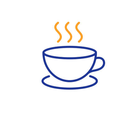 Coffee drink line icon. Hot cup sign. Fresh beverage symbol. Colorful outline concept. Blue and orange thin line color icon. Cappuccino Vector