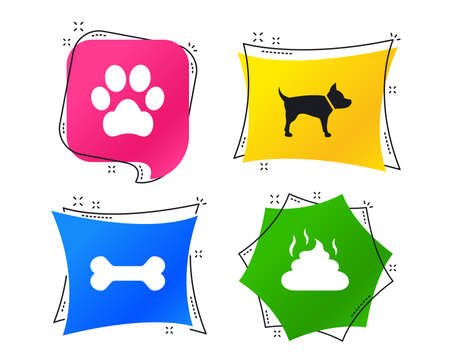 Pets icons. Dog paw and feces signs. Clean up after pets. Pets food. Geometric colorful tags. Banners with flat icons. Trendy design. Vector Illustration