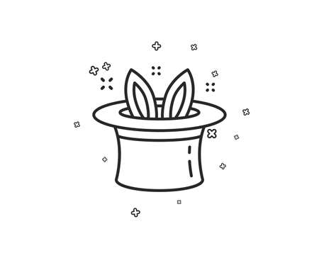 Hat-trick line icon. Magic tricks with hat and rabbit sign. Illusionist show symbol. Geometric shapes. Random cross elements. Linear Hat-trick icon design. Vector