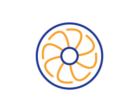 Fan engine line icon. Jet turbine sign. Ventilator symbol. Colorful outline concept. Blue and orange thin line color Fan engine icon. Vector