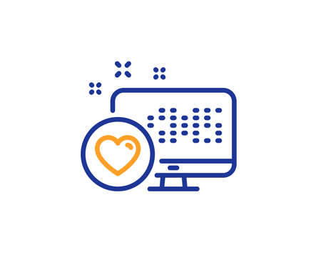 Heart line icon. Favorite like sign. Positive feedback symbol. Colorful outline concept. Blue and orange thin line color Heart icon. Vector Illustration