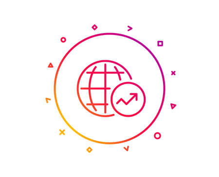 World Statistics line icon. Report chart or Sales growth sign. Data Analysis graph symbol. Gradient pattern line button. World Statistics icon design. Geometric shapes. Vector