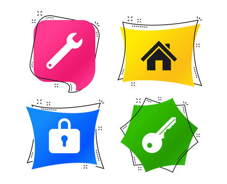 Home key icon. Wrench service tool symbol. Locker sign. Main page web navigation. Geometric colorful tags. Banners with flat icons. Trendy design. Vector Ilustrace
