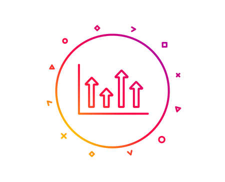 Growth chart line icon. Financial graph sign. Upper Arrows symbol. Business investment. Gradient pattern line button. Upper arrows icon design. Geometric shapes. Vector