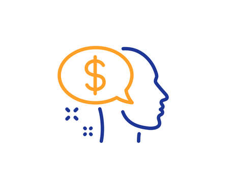 Pay line icon. Think about money sign. Beggar symbol. Colorful outline concept. Blue and orange thin line color icon. Pay Vector