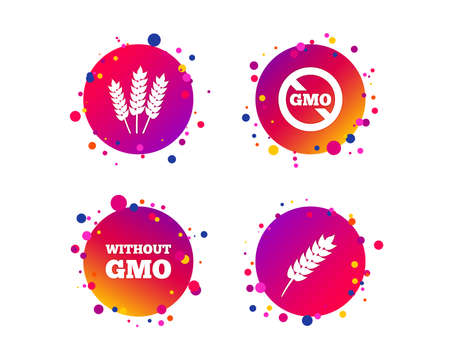 Agricultural icons. Gluten free or No gluten signs. Without Genetically modified food symbols. Gradient circle buttons with icons. Random dots design. Vector