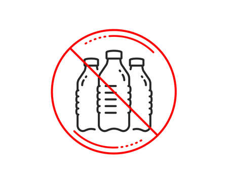 No or stop sign. Water bottles line icon. Still aqua drink sign. Liquid symbol. Caution prohibited ban stop symbol. No  icon design.  Vector