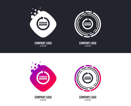 Logotype concept. Coming soon sign icon. Promotion announcement symbol. Logo design. Colorful buttons with icons. Vector Illustration