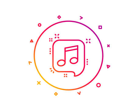 Musical note in speech bubble line icon. Music sign. Gradient pattern line button. Musical note icon design. Geometric shapes. Vector