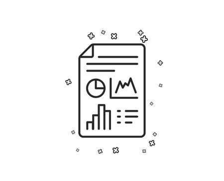 Report document line icon. Column graph sign. Growth diagram, pie chart symbol. Geometric shapes. Random cross elements. Linear Report document icon design. Vector Illustration