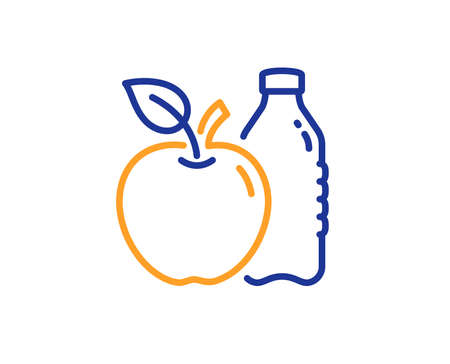Apple line icon. Fruit, water bottle sign. Natural food symbol. Colorful outline concept. Blue and orange thin line color Apple icon. Vector Illustration