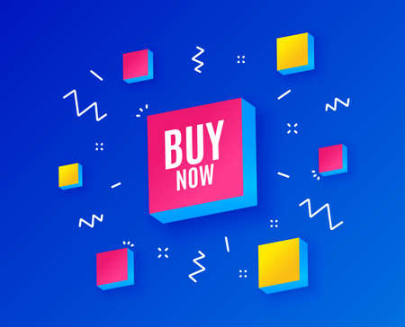 Buy Now. Special offer price sign. Advertising Discounts symbol. Isometric cubes with geometric shapes. Creative shopping banners. Template for design. Vector
