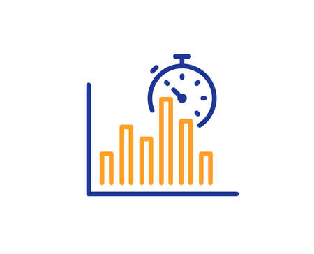 Report timer line icon. Column graph sign. Growth diagram chart symbol. Colorful outline concept. Blue and orange thin line color Report timer icon. Vector