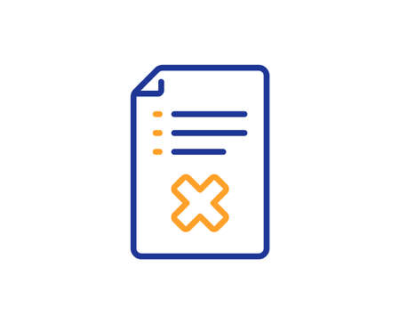 Reject file line icon. Decline document sign. Delete file. Colorful outline concept. Blue and orange thin line color Reject file icon. Vector