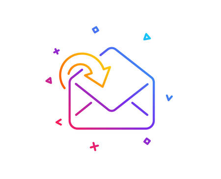 Receive Mail download line icon. Incoming Messages correspondence sign. E-mail symbol. Gradient line button. Receive Mail icon design. Colorful geometric shapes. Vector Иллюстрация