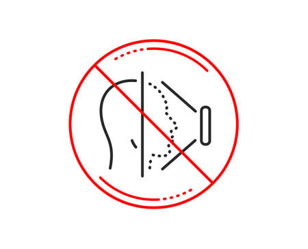 No or stop sign. Face scanning line icon. Phone Face id sign. Head recognition symbol. Caution prohibited ban stop symbol. No  icon design.  Vector