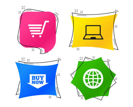 Online shopping icons. Notebook pc, shopping cart, buy now arrow and internet signs. WWW globe symbol. Geometric colorful tags. Banners with flat icons. Trendy design. Vector Illustration