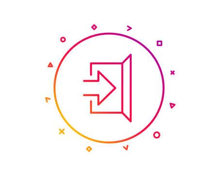 Exit line icon. Open door sign. Entrance symbol with arrow. Gradient pattern line button. Exit icon design. Geometric shapes. Vector Banque d'images - 112887958