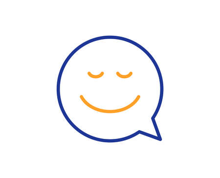 Comic speech bubble with Smile line icon. Chat emotion sign. Colorful outline concept. Blue and orange thin line color icon. Smile Vector