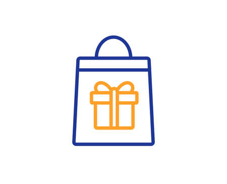 Shopping bag with Gift box line icon. Present or Sale sign. Birthday Shopping symbol. Package in Gift Wrap. Colorful outline concept. Blue and orange thin line color icon. Holidays shopping Vector Illustration