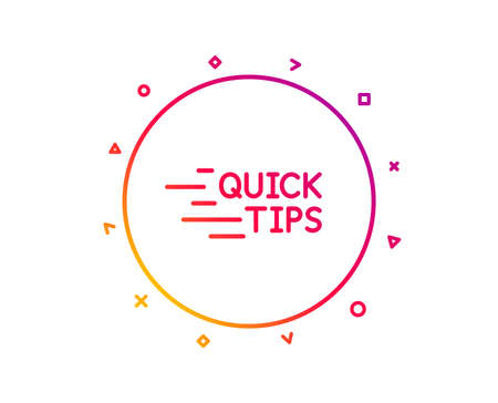 Quick tips line icon. Helpful tricks sign. Tutorials symbol. Gradient pattern line button. Education icon design. Geometric shapes. Vector  イラスト・ベクター素材