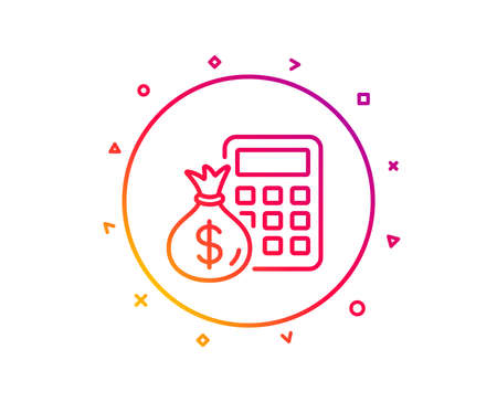 Calculator with money bag line icon. Accounting sign. Calculate finance symbol. Gradient pattern line button. Finance Calculator icon design. Geometric shapes. Vector Ilustracja