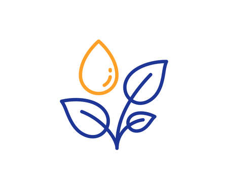 Plants watering line icon. Leaves dew sign. Environmental care symbol. Colorful outline concept. Blue and orange thin line color Plants watering icon. Vector