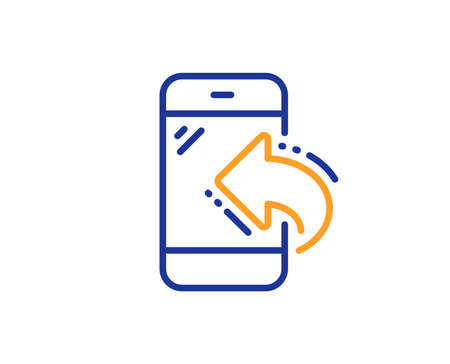 Call center service line icon. Incoming phone call sign. Feedback symbol. Colorful outline concept. Blue and orange thin line color Incoming call icon. Vector