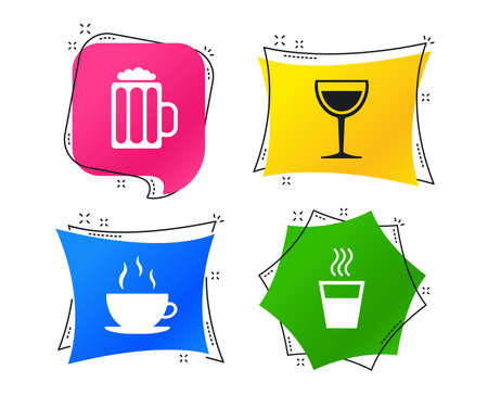 Drinks icons. Coffee cup and glass of beer symbols. Wine glass sign. Geometric colorful tags. Banners with flat icons. Trendy design. Vector Illustration