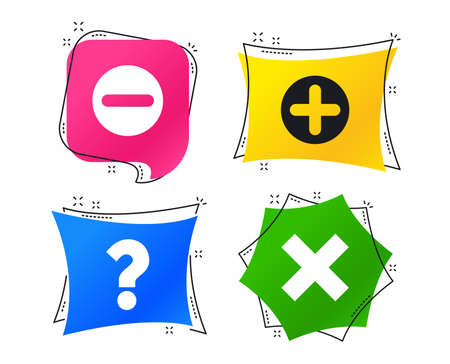 Plus and minus icons. Delete and question FAQ mark signs. Enlarge zoom symbol. Geometric colorful tags. Banners with flat icons. Trendy design. Vector