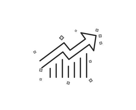 Chart line icon. Report graph or Sales growth sign. Analysis and Statistics data symbol. Geometric shapes. Random cross elements. Linear Demand curve icon design. Vector Illusztráció