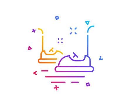 Bumper cars line icon. Amusement park sign. Gradient line button. Bumper cars icon design. Colorful geometric shapes. Vector Illustration