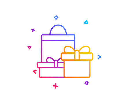 Gift boxes with bag line icon. Present or Sale sign. Birthday Shopping symbol. Package in Gift Wrap. Gradient line button. Shopping icon design. Colorful geometric shapes. Vector Ilustracja