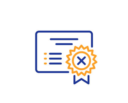 Reject certificate line icon. Decline document sign. Wrong file. Colorful outline concept. Blue and orange thin line color Reject certificate icon. Vector Illustration