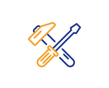 Icône de ligne marteau et tournevis. Signe de service de réparation. Fixer le symbole des instruments. Concept de contour coloré. Icône d'outil de marteau de couleur de fine ligne bleue et orange. Vecteur