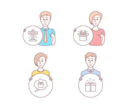 People hand drawn style. Set of Attraction, Hat-trick and Gift dream icons. Special offer sign. Free fall, Magic hat, Receive a gift. Delivery box.  Character hold circle button. Man with like hand Illustration