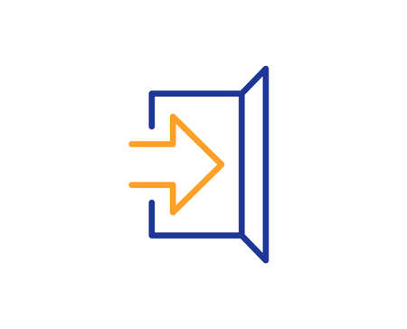 Exit line icon. Open door sign. Entrance symbol with arrow. Colorful outline concept. Blue and orange thin line color icon. Exit Vector