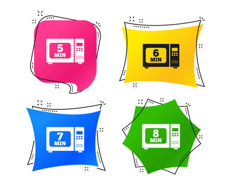 Microwave oven icons. Cook in electric stove symbols. Heat 5, 6, 7 and 8 minutes signs. Geometric colorful tags. Banners with flat icons. Trendy design. Vector