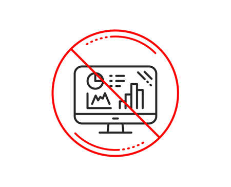 No or stop sign. Analytics graph line icon. Column chart sign. Growth diagram symbol. Caution prohibited ban stop symbol. No  icon design.  Vector